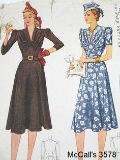 Pattern envy - Vintage 40s Dress Pattern - McCall 3578 (velvet?)