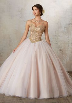 Jeweled Beading on a Tulle Ballgown | Vizcaya Style 89133 | Sweetheart Bodice Intricately Beaded with Jewel Details Adds a Modern Touch to This Classic Quinceañera Ballgown. Matching Bolero Jacket Included. Corset Back.