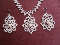 Bridal Tatting  Frivolite Necklace and Earrings by carmentatting, $45.00