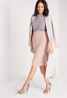 Missguided - Ribbed Bodycon Midi Skirt Mauve