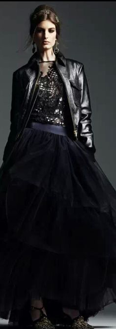 Tulle skirt leather jacket