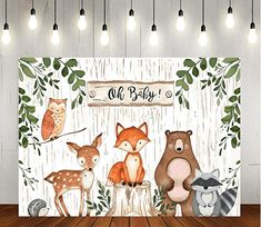 Woodland Baby Shower Backdrop Jungle Animals Theme Banner Happy Birthdays Party Decorations for Kids Baby Shower Background, Baby Shower Backdrop, Boy Baby Shower Themes, Baby Boy Babyshower Themes, Backdrop Background, Happy Birthday Parties, 1st Boy Birthday, Happy Birthdays, Foto Baby