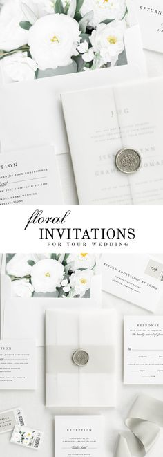 The Jessica wedding invitation suite is paired with Marguerite florals. Marguerite features silver dollar eucalyptus, olive leaves, ranunculus, and white dahlias.