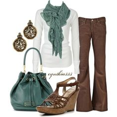 I really love this sea-foam green look with the brown; very modern 70s