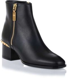 Alexander McQueen Black leather embellished ankle boot on shopstyle.com