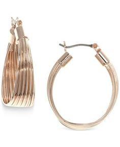Nine West Rose Gold-Tone Wide Hoop Earrings - Gold