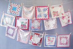 I love hankies and vintage tablecloths!