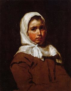 Young Peasant Girl, Diego Velázquez Private collection Painting - oil on canvas Spanish Painters, Spanish Artists, Caravaggio, Diego Velazquez, L'art Du Portrait, Baroque Art, Classic Paintings, Art Abstrait, Western Art