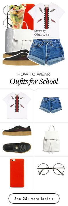 """Please say you'll be my nothin."" by thats-so-me on Polyvore featuring Knomo, Aroma, Beats by Dr. Dre, Gucci, Mansur Gavriel, Puma and Levi's"