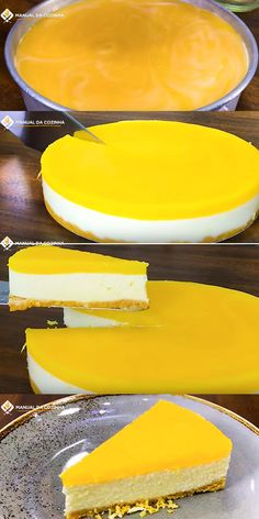 CHEESECAKE LARANJINHA #cheesecake #orange #laranja #torta #cozinha #receita #receitafacil #receitas #comida #food #manualdacozinha #aguanaboca #alexgranig Food Cakes, Cupcake Recipes, Cupcake Cakes, Cheesecake Brownies, Cheesecakes, Nutella, Delicious Desserts, Bakery, Food And Drink