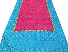 5 Yard Vintage Indian Silk Sari Floral Printed by Thepuranabazaar