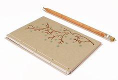 Blooming Branch. Embroidered A6 Notebook. by FabulousCatPapers