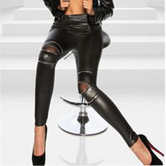 Black Sexy Women Leather Skinny Pants Zipped Leggings Stretch Slim Trousers For Girls Clothing Free Shipment