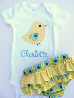 Personalized Onesie and Ruffled Diaper Cover
