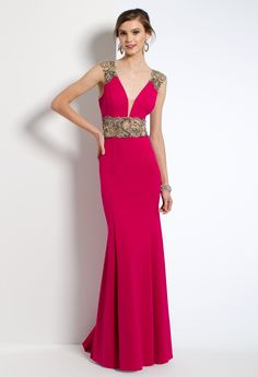 This evening dress is an instant breath-taker! The v-plunging neckline, beaded illusion waist, sheath jersey skirt, and open back make for an elaborate prom dress. #camillelavie