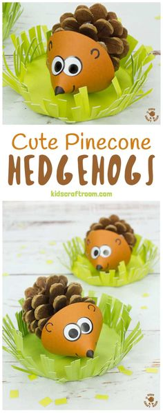 Pinecone Hedgehog Craft Do Your Kids Like Collecting Pinecones? Transform Them Into Adorable Pinecone Hedgehogs These Little Hedgehog Craft Sits In A Grassy Home Where They Can Snuffle Around For Their Dinner We Think These Are The Cutest Pinecone Animals Kids Crafts, Fall Crafts For Kids, Preschool Crafts, Projects For Kids, Easy Crafts, Art For Kids, Kids Diy, Decor Crafts, Diy Projects