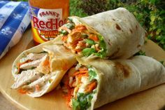 Buffalo chicken wraps.  Love me some hot sauce!  Easy to make healthy with grilled chicken, fat free ranch, low fat cheese.