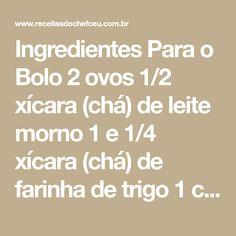Ingredientes Para o Bolo 2 ovos 1/2 xícara (chá) de leite morno 1 e 1/4 xícara (chá) de farinha de trigo 1 colher (sopa) de margarina 1 xícara (chá) de açúcar 1 colher (sobremesa) de fermento Para o Recheio 1 abacaxi pequeno 1 lata de creme de leite (sem o soro) Açúcar para cozinhar o…