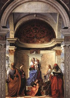 The San Zaccaria Altarpiece (Madonna Enthroned with Child and Saints) by Giovanni Bellini, 1505 San Zaccaria, Venice Giovanni, Italian Paintings, Renaissance Art, Art, Italian Painters, Catholic Art, Art History, Sacred Art, Venetian Painters