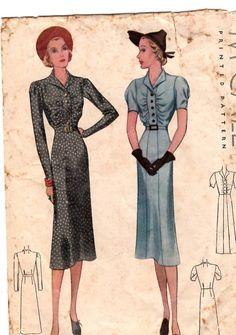 1930s Vintage McCall Sewing Pattern WOMENs DRESS #9610 Size 14 COMPLETE So Chic!