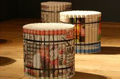 David Stovell's Sunday Paper products consist of tightly rolled newspapers strapped together into stools.