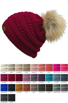 5bb1aa6d28ec2 Adult size furry pom beanie. Made of 100% soft acrylic.