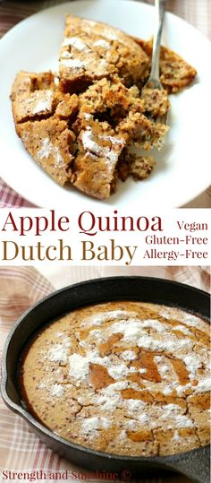 Gluten-Free Apple Quinoa Dutch Baby Pancake (Vegan, Allergy-Free) | Strength and Sunshine @RebeccaGF666 Who would pass up a baked pancake? This Gluten-Free Apple Quinoa Dutch Baby is vegan and top-8 allergy-free. A traditional German breakfast recipe transformed for a delicious, healthy, and easy seasonal treat! #glutenfree #vegan #dutchbaby #quinoa #apple #breakfast