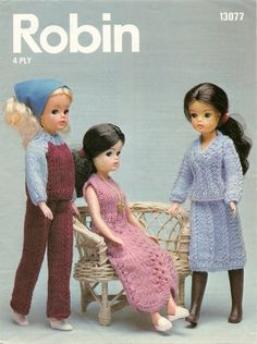 """Knitting Pattern Sindy Doll Outfit Party Dress Trouser Suit 4 Ply 12"""" Doll PDF Instant Download by Sweetbabypatterns on Etsy"""