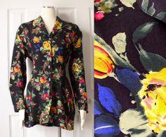 Vintage 90s Black Floral Print Blazer by SadieBess, $28.00