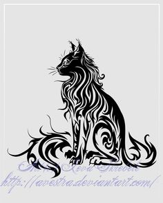 Sitting Cat Tribal Tattoo II by *Avestra on deviantART
