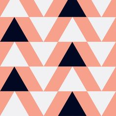 black and white triangles on coral fabric by >>mintpeony<< on Spoonflower - custom fabric