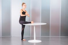1. Standing Pigeon Pose With Table (Eka Pada Rajakapotasana)