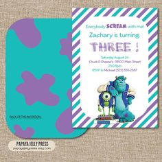 Monsters University Birthday Invitation  Sully by PapayaJellyPress, $10.00