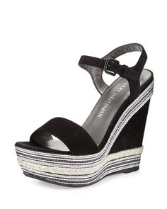 Stuart Weitzman Single Embellished Suede Wedge Sandal, Black