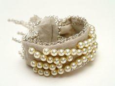 Anthropologie-inspired DIY bracelet. #fashion #DIY #jewelry #jewellery #pearls #fabric