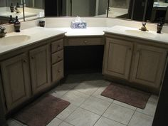 corner double sink vanity. Corner vanity and double sinks Custom Master Bathroom  with corner tower cabinet