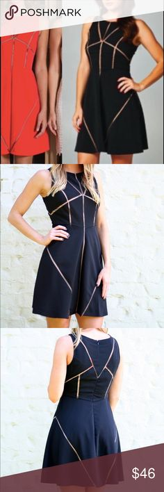 Black Mesh Cut-Out Dress Black dress with a nude mesh inset. Perfect for a evening wedding or special occasion. Girls night out dress. C. Luce Dresses