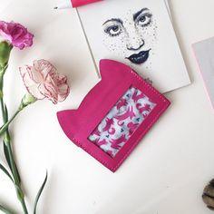 Pink Pussycat leather card case unique card by ChatonNoirBoutique