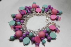 Pink Purple and Mint Green Wood and Pewter by IrishExpressions, $35.00