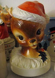 vintage Christmas reindeer head / bust   red Santa hat   holly