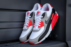 "Nike Caps Off Anniversary Celebration Of Air Max 90 With ""Infrared"" Release Nike Free Shoes, Nike Shoes Outlet, Tenis Air Max 90, Moda Nike, Sneakers Fashion, Sneakers Nike, Fashion Shoes, Sneakers Style, Nike Free Runners"