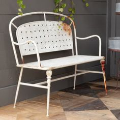 Perfect for outdoor living spaces, our aged white Cafe bench features a rusted antique white paint finish. Pairs well with our Vintage Style Cafe Chairs. SPECIFICATIONS Dimensions: x x Finish: DistressedMaterial: MetalContains: Ships: Oversize Ground Cafe Bench, Cafe Seating, Cafe Chairs, Room Chairs, Farmhouse Style Decorating, Farmhouse Decor, Farmhouse Chairs, Farmhouse Ideas, Front Porch Furniture