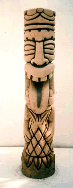 "40"" Tiki God Carved Hawaiian Tongue Tiki Statue"