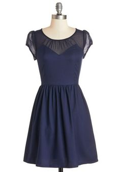 Arrive with Aplomb Dress. As you make your debut in this darling navy-blue dress, its short pleated A-line swaying with each step, you cant help but exude poise and confidence. #blueNaN