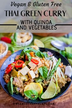 A lot of people think vegan and gluten free dinners can't possibly be delicious without meat, they are wrong! This Thai green curry meal is delicious and healthy and includes quinoa and vegetables to round out the dish. Easy Asian Recipes, Vegetarian Recipes Easy, Curry Recipes, Easy Dinner Recipes, Thai Recipes, Salad Recipes, Vegetable Dishes, Vegetable Recipes, Vegetarian Thai Green Curry