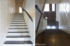 White and dark wood finish stairs. Wood door.