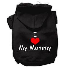 I Love My Mommy Screen Print Pet Hoodies Black Size XL (16)