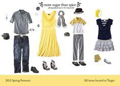 Одежда для фотосессии семейного портрета. Как одеться для фотосъемки весной и летом.     What to wear for a family photo shoot at Spring or Summer. Yellow, black, grey colors