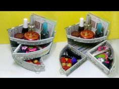 How to make a Mini Dressing table Organizer Using Newspaper | Newspaper 7 | All type videyos - YouTube
