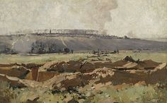 The Somme Valley that Arthur Streeton toured in 1918 was still raw with the wounds of major battles. One of the places he visited was the town of Villers-Bretonneux, which on 25 April (Anzac Day) 1918 had been recaptured by . Watercolor Landscape, Abstract Landscape, Landscape Paintings, Oil Paintings, Australian Painting, Australian Artists, Ww1 Art, Spring Art, Traditional Paintings